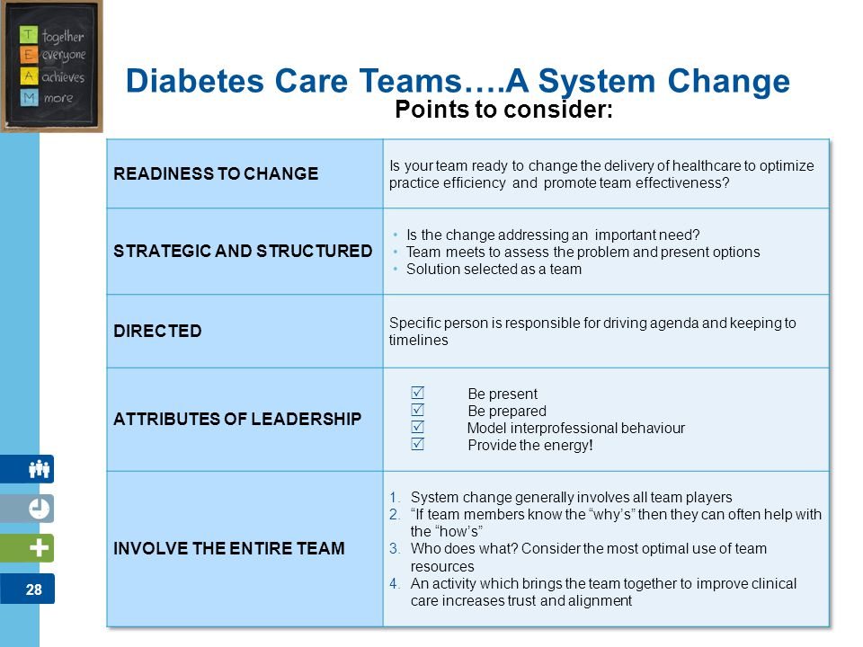 28 Diabetes Care Teams….A System Change Points to consider:
