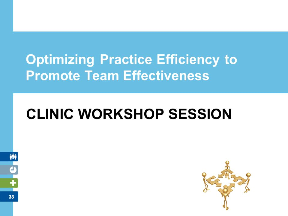 33 CLINIC WORKSHOP SESSION Optimizing Practice Efficiency to Promote Team Effectiveness