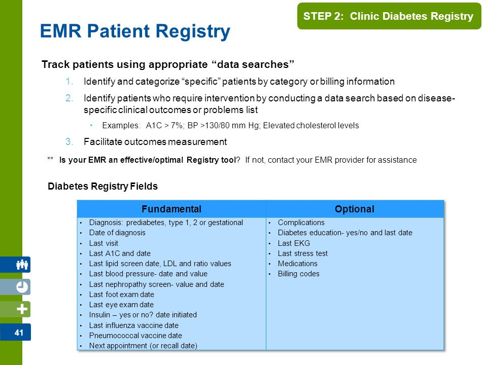 """41 STEP 2: Clinic Diabetes Registry Track patients using appropriate """"data searches"""" 1.Identify and categorize """"specific"""" patients by category or bill"""