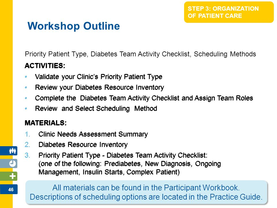 46 STEP 3: ORGANIZATION OF PATIENT CARE ACTIVITIES: Validate your Clinic's Priority Patient Type Review your Diabetes Resource Inventory Complete the