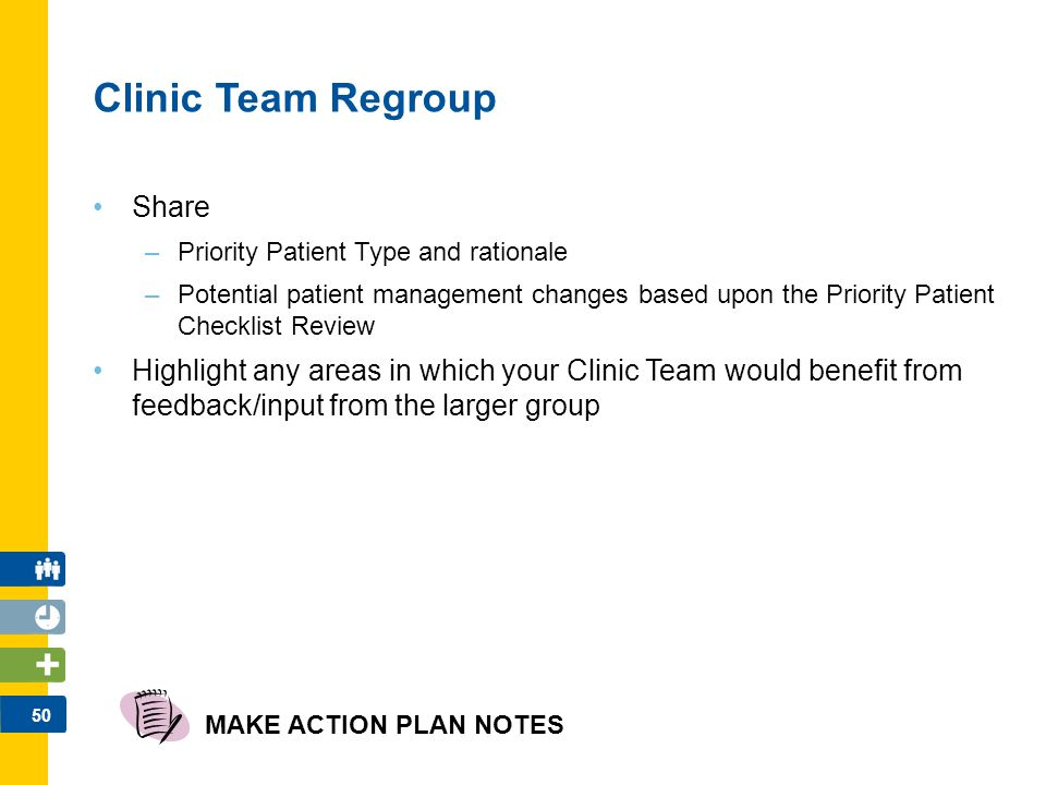 50 Clinic Team Regroup Share –Priority Patient Type and rationale –Potential patient management changes based upon the Priority Patient Checklist Revi