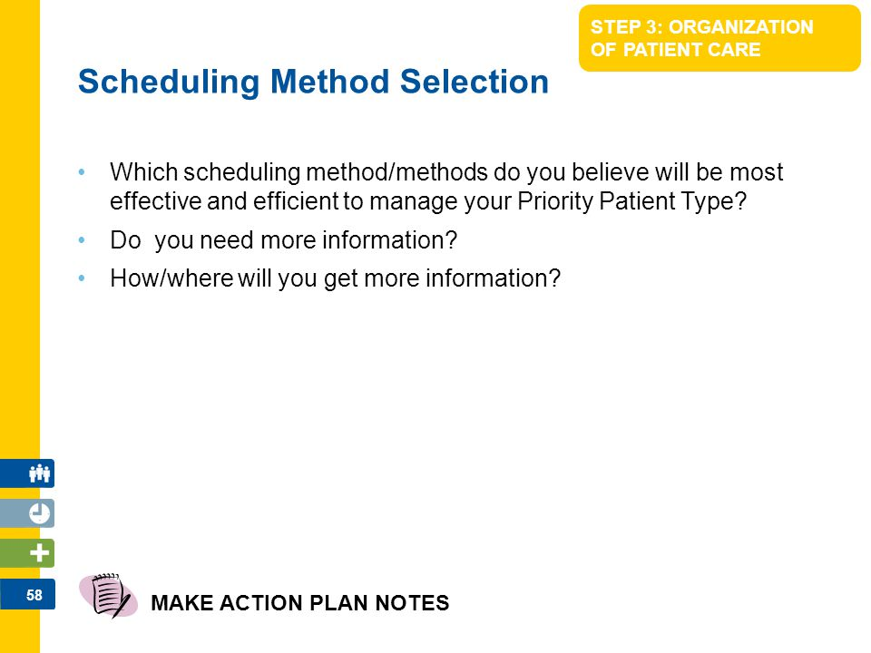 58 STEP 3: ORGANIZATION OF PATIENT CARE Which scheduling method/methods do you believe will be most effective and efficient to manage your Priority Pa