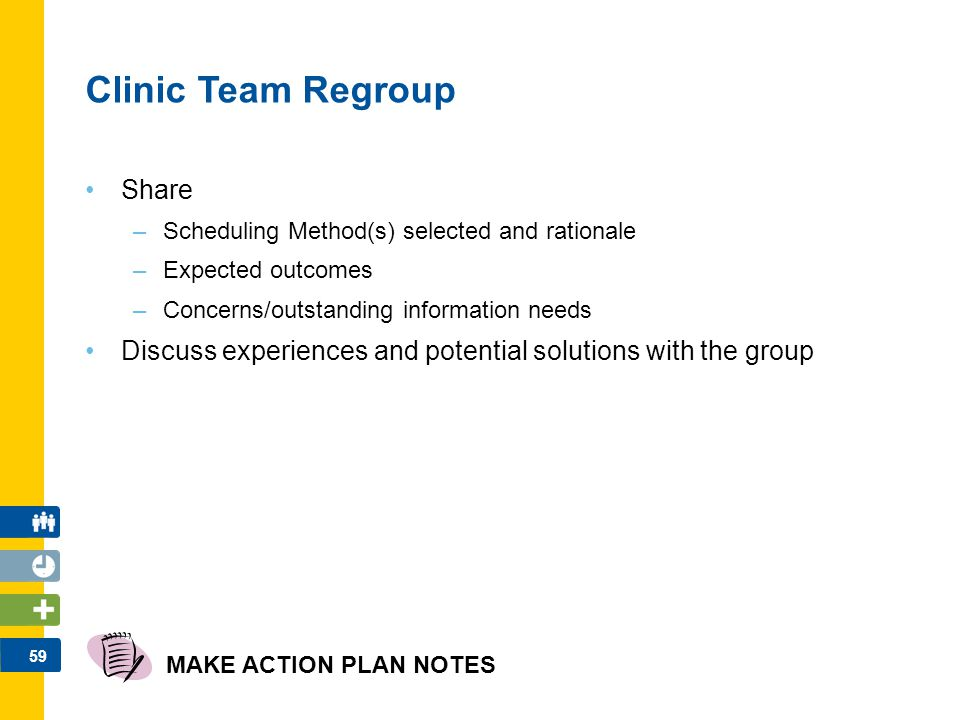 59 Clinic Team Regroup Share –Scheduling Method(s) selected and rationale –Expected outcomes –Concerns/outstanding information needs Discuss experienc