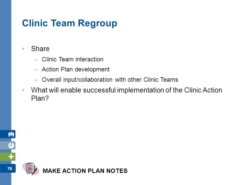 76 Clinic Team Regroup Share –Clinic Team interaction –Action Plan development –Overall input/collaboration with other Clinic Teams What will enable s
