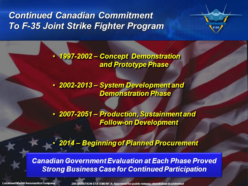 4 Lockheed Martin Aeronautics Company Continued Canadian Commitment To F-35 Joint Strike Fighter Program 1997-2002 – Concept Demonstration and Prototy