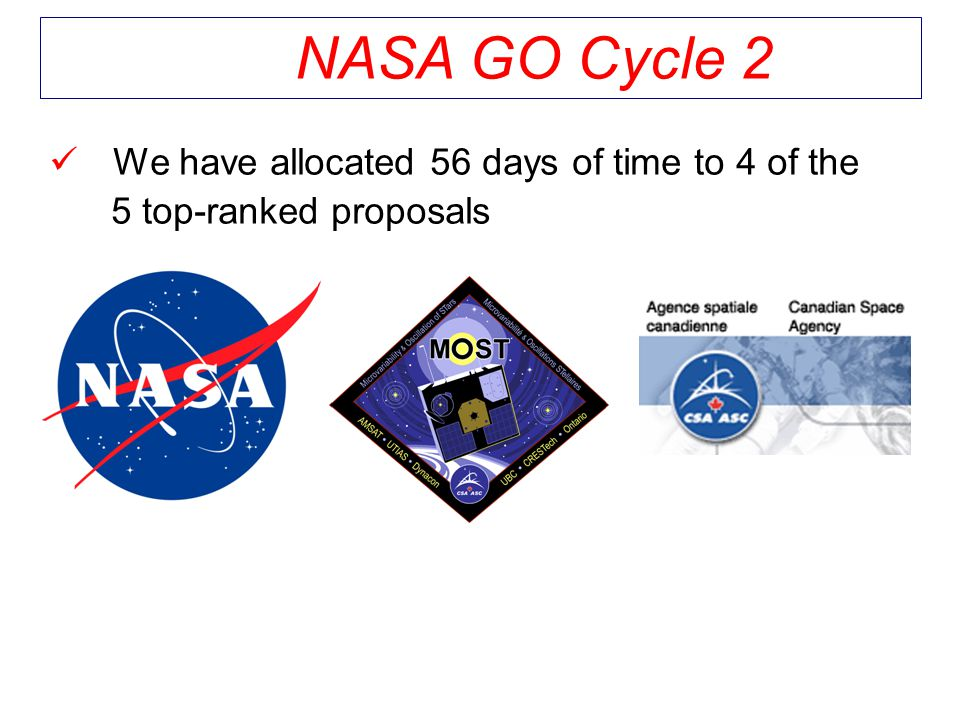 We have allocated 56 days of time to 4 of the 5 top-ranked proposals NASA GO Cycle 2