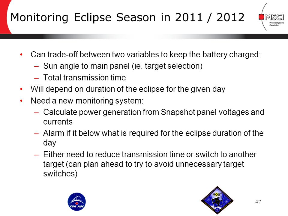 Monitoring Eclipse Season in 2011 / 2012 47 Can trade-off between two variables to keep the battery charged: –Sun angle to main panel (ie.