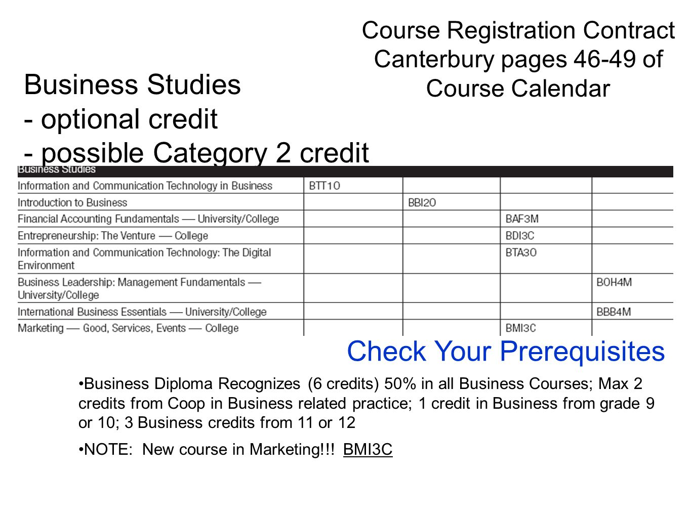 Business Diploma Recognizes (6 credits) 50% in all Business Courses; Max 2 credits from Coop in Business related practice; 1 credit in Business from g