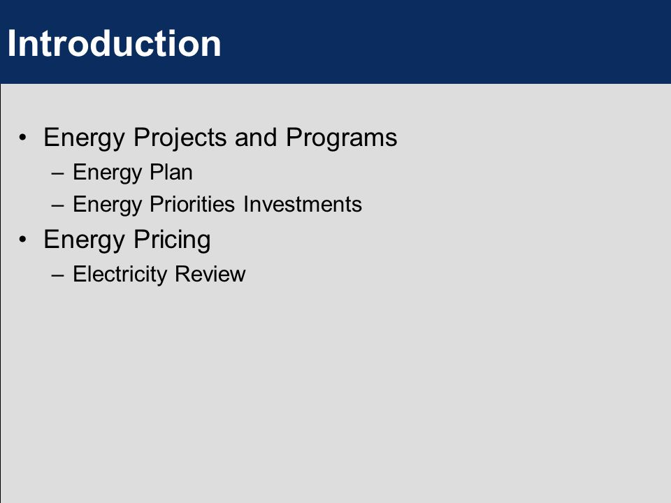 Introduction Energy Projects and Programs –Energy Plan –Energy Priorities Investments Energy Pricing –Electricity Review