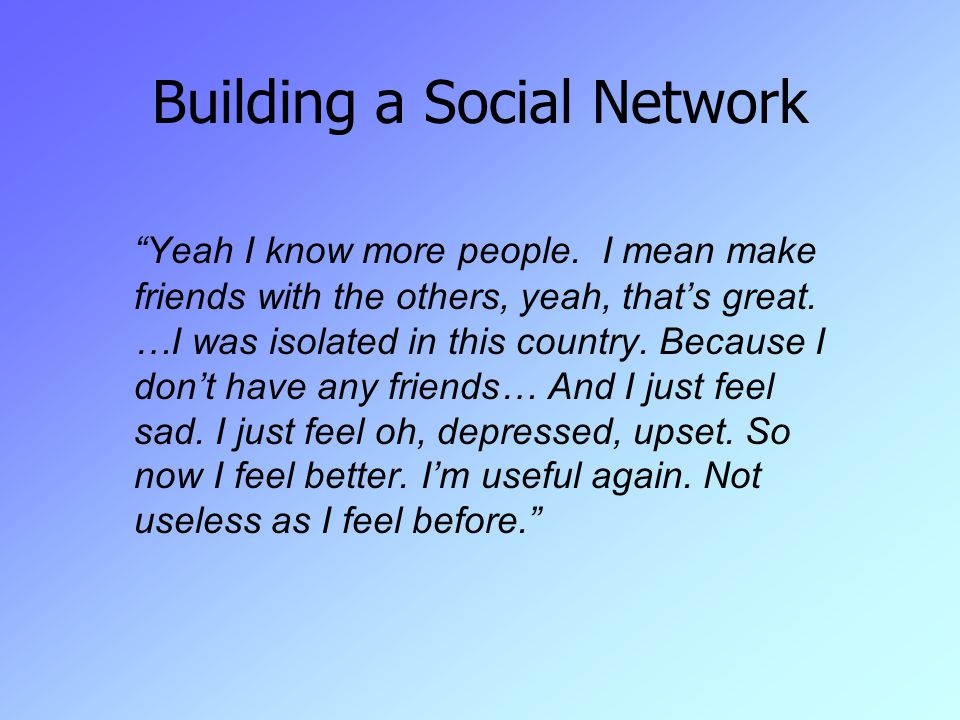 Building a Social Network Yeah I know more people.