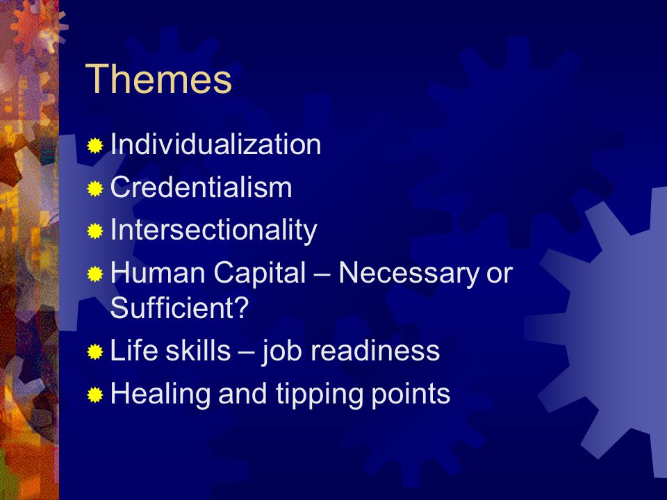 Themes  Individualization  Credentialism  Intersectionality  Human Capital – Necessary or Sufficient?  Life skills – job readiness  Healing and