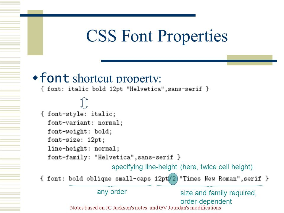 Notes based on JC Jackson s notes and GV Jourdan s modifications CSS Font Properties  font shortcut property: specifying line-height (here, twice cell height) any order size and family required, order-dependent