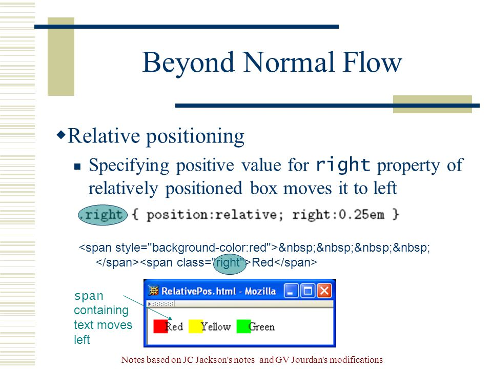 Notes based on JC Jackson s notes and GV Jourdan s modifications Beyond Normal Flow  Relative positioning Specifying positive value for right property of relatively positioned box moves it to left Red span containing text moves left
