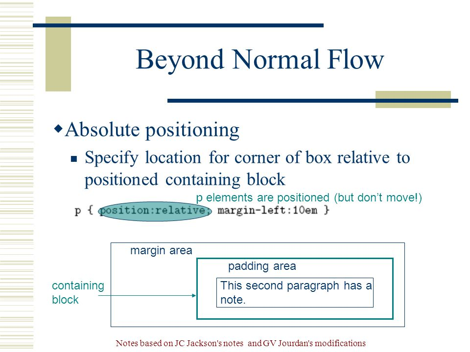 Notes based on JC Jackson s notes and GV Jourdan s modifications Beyond Normal Flow  Absolute positioning Specify location for corner of box relative to positioned containing block margin area padding area containing block This second paragraph has a note.