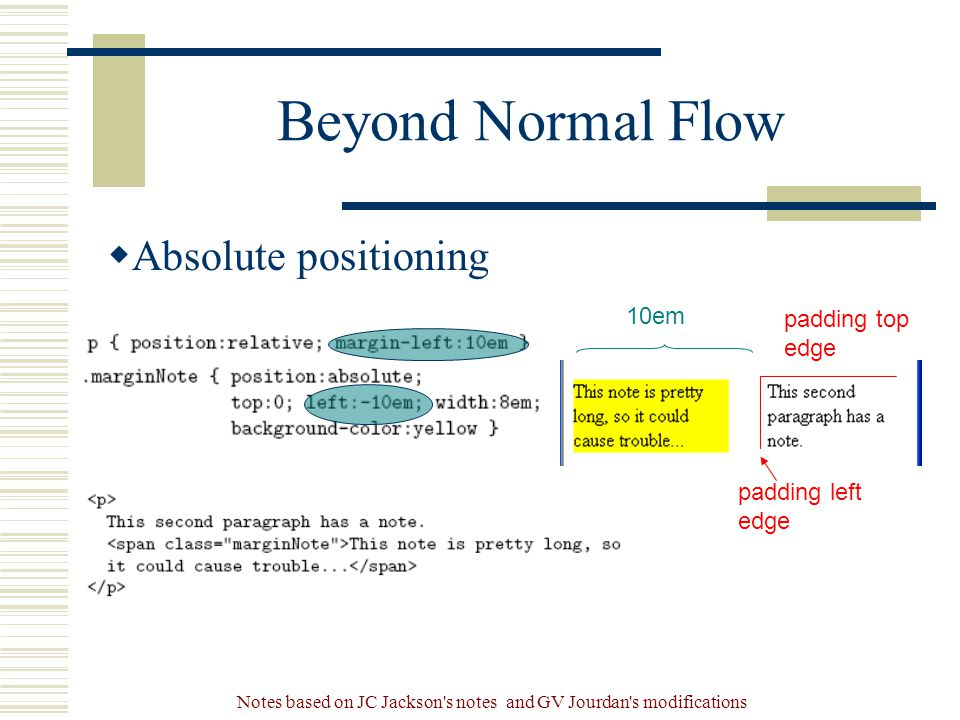 Notes based on JC Jackson s notes and GV Jourdan s modifications Beyond Normal Flow  Absolute positioning 10em padding top edge padding left edge