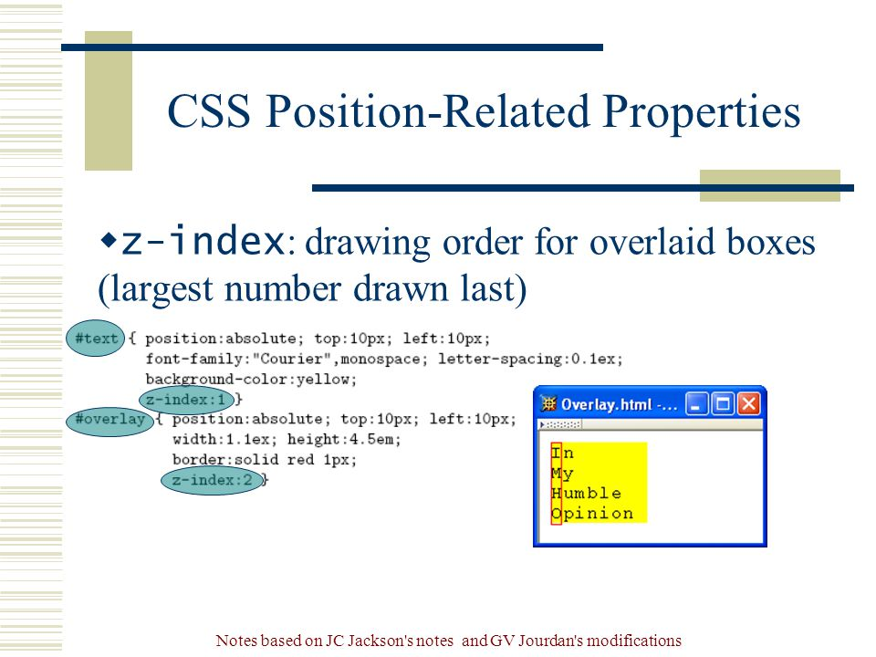 Notes based on JC Jackson s notes and GV Jourdan s modifications CSS Position-Related Properties  z-index : drawing order for overlaid boxes (largest number drawn last)
