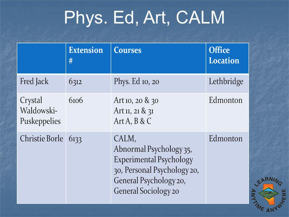 Phys. Ed, Art, CALM