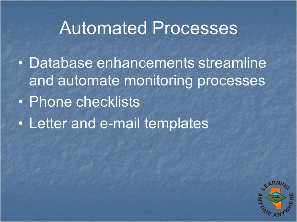 Automated Processes Database enhancements streamline and automate monitoring processes Phone checklists Letter and e-mail templates