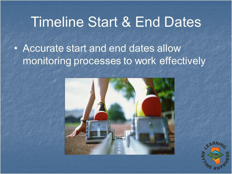 Timeline Start & End Dates Accurate start and end dates allow monitoring processes to work effectively