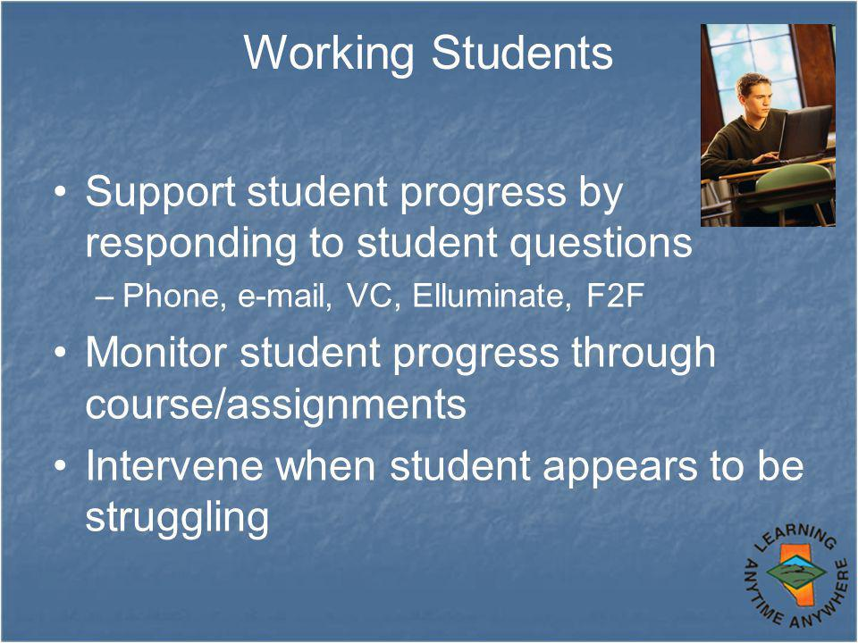 Working Students Support student progress by responding to student questions –Phone, e-mail, VC, Elluminate, F2F Monitor student progress through course/assignments Intervene when student appears to be struggling