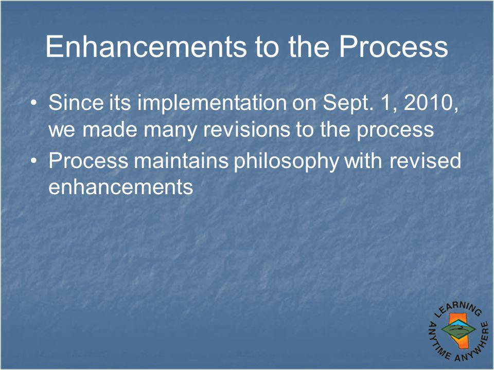 Enhancements to the Process Since its implementation on Sept.
