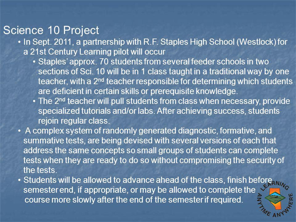 Science 10 Project In Sept. 2011, a partnership with R.F.