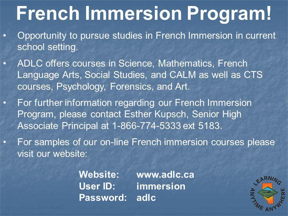 French Immersion Program.