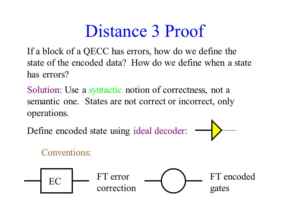 Distance 3 Proof If a block of a QECC has errors, how do we define the state of the encoded data.