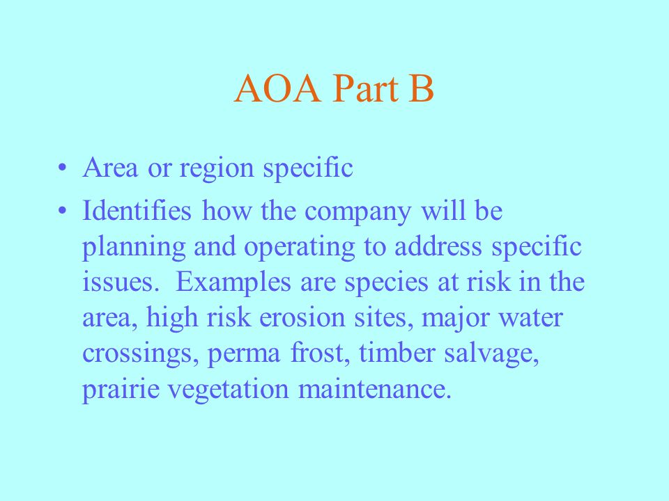AOA Part B Area or region specific Identifies how the company will be planning and operating to address specific issues.