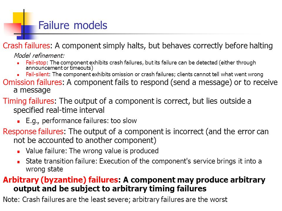 EECE 411: Design of Distributed Software Applications Failure models Crash failures: A component simply halts, but behaves correctly before halting Mo