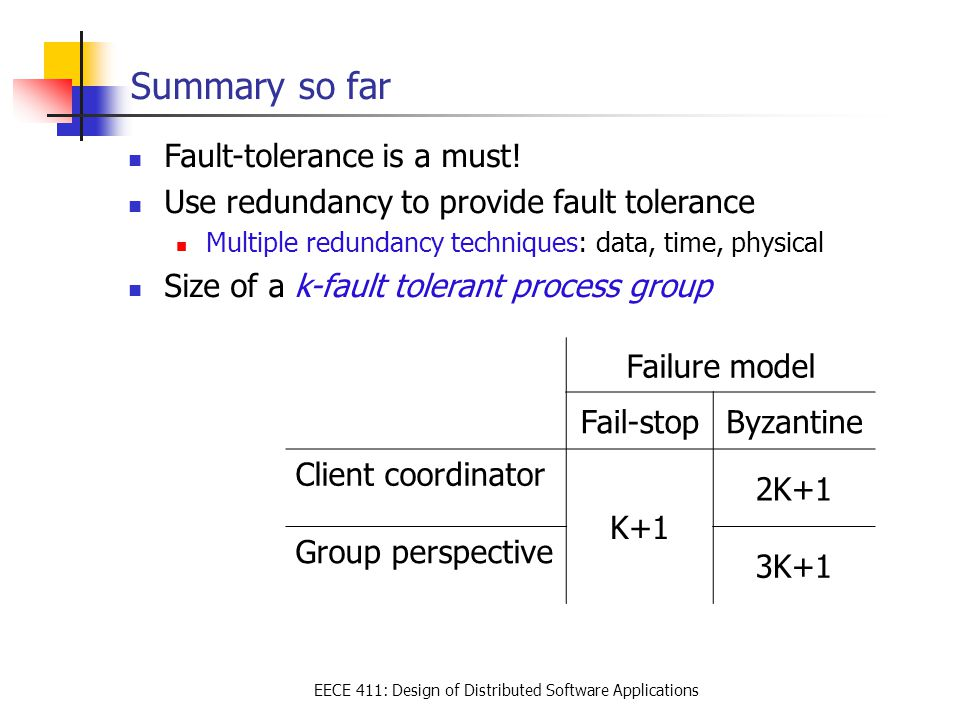 EECE 411: Design of Distributed Software Applications Summary so far Fault-tolerance is a must.