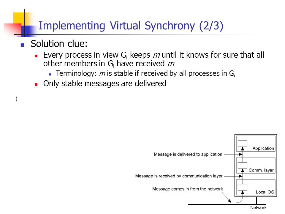 EECE 411: Design of Distributed Software Applications Implementing Virtual Synchrony (2/3) Solution clue: Every process in view G i keeps m until it k