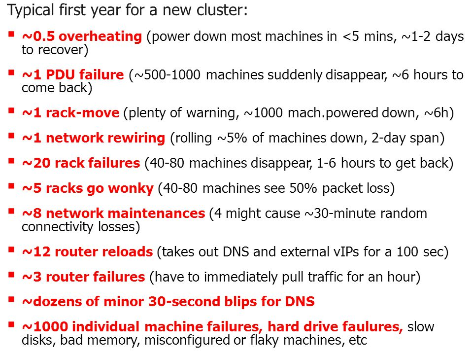 EECE 411: Design of Distributed Software Applications Typical first year for a new cluster:  ~0.5 overheating (power down most machines in <5 mins, ~1-2 days to recover)  ~1 PDU failure (~ machines suddenly disappear, ~6 hours to come back)  ~1 rack-move (plenty of warning, ~1000 mach.powered down, ~6h)  ~1 network rewiring (rolling ~5% of machines down, 2-day span)  ~20 rack failures (40-80 machines disappear, 1-6 hours to get back)  ~5 racks go wonky (40-80 machines see 50% packet loss)  ~8 network maintenances (4 might cause ~30-minute random connectivity losses)  ~12 router reloads (takes out DNS and external vIPs for a 100 sec)  ~3 router failures (have to immediately pull traffic for an hour)  ~dozens of minor 30-second blips for DNS  ~1000 individual machine failures, hard drive faulures, slow disks, bad memory, misconfigured or flaky machines, etc