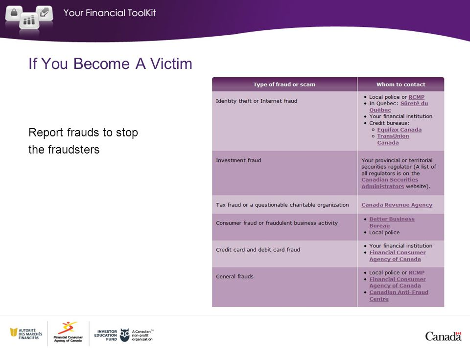 If You Become A Victim Report frauds to stop the fraudsters