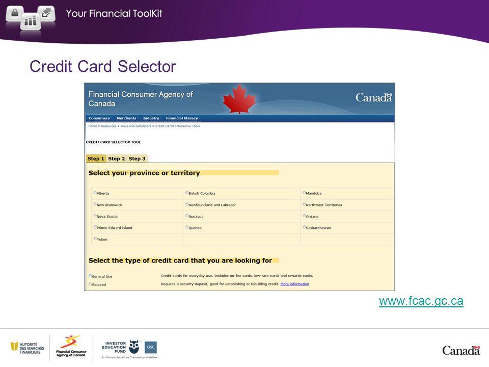 Credit Card Selector www.fcac.gc.ca