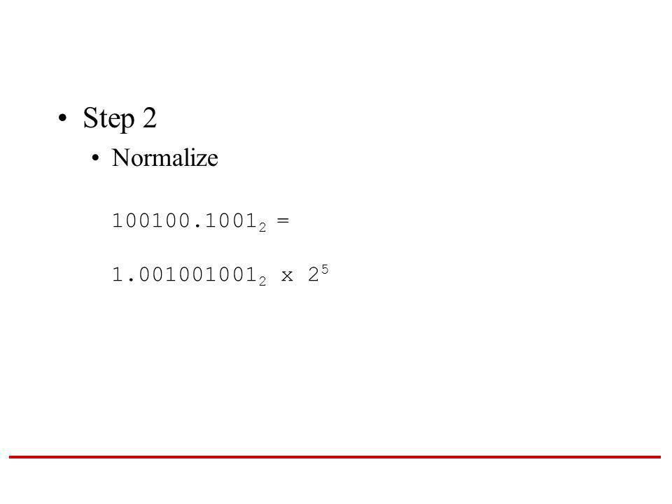 Step 2 Normalize 100100.1001 2 = 1.001001001 2 x 2 5