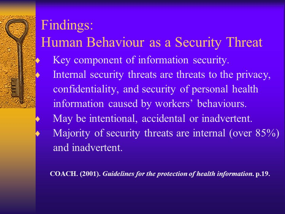 Findings: Human Behaviour as a Security Threat  Key component of information security.  Internal security threats are threats to the privacy, confid