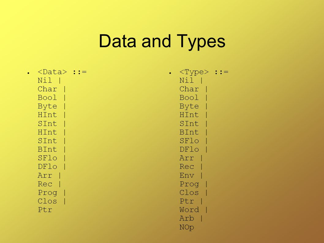 Data and Types ● ::= Nil | Char | Bool | Byte | HInt | SInt | HInt | SInt | BInt | SFlo | DFlo | Arr | Rec | Prog | Clos | Ptr ● ::= Nil | Char | Bool | Byte | HInt | SInt | BInt | SFlo | DFlo | Arr | Rec | Env | Prog | Clos | Ptr | Word | Arb | NOp