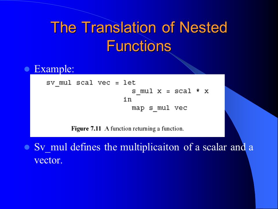The Translation of Nested Functions Example: Sv_mul defines the multiplicaiton of a scalar and a vector.
