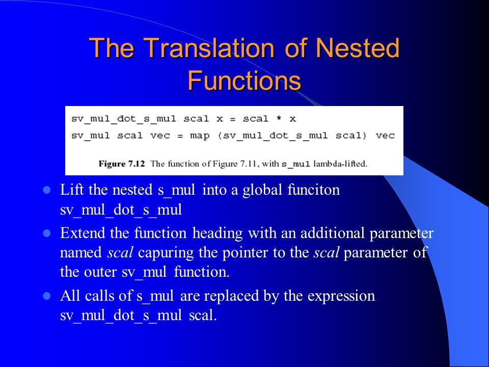 The Translation of Nested Functions Lift the nested s_mul into a global funciton sv_mul_dot_s_mul Extend the function heading with an additional param