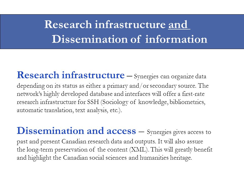 Dissemination and access – Synergies gives access to past and present Canadian research data and outputs.