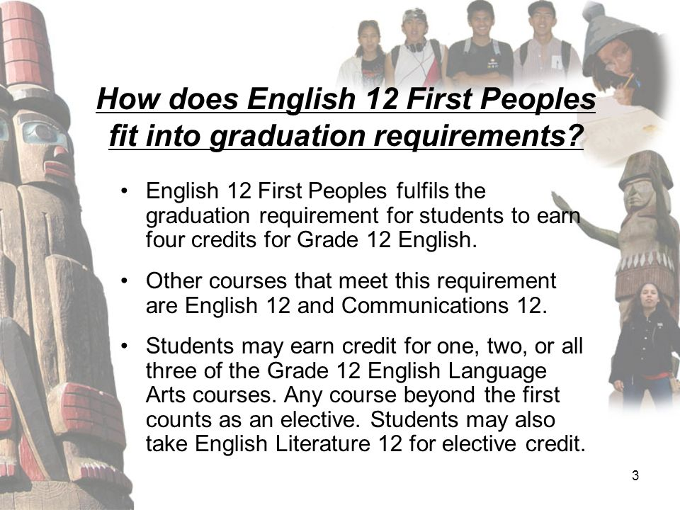 3 How does English 12 First Peoples fit into graduation requirements? English 12 First Peoples fulfils the graduation requirement for students to earn
