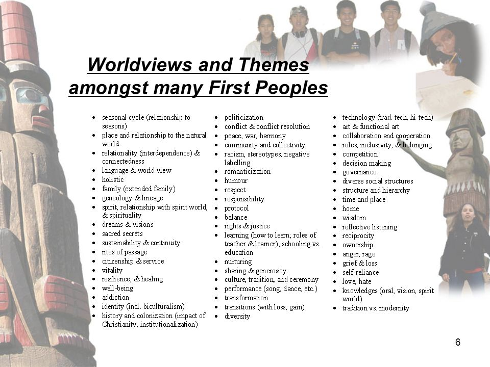 6 Worldviews and Themes amongst many First Peoples