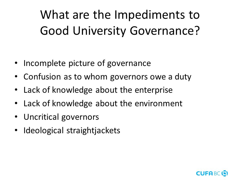 What are the Impediments to Good University Governance.