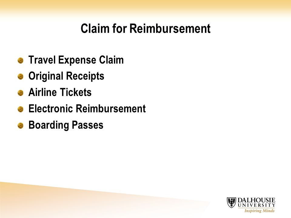 Claim for Reimbursement Travel Expense Claim Original Receipts Airline Tickets Electronic Reimbursement Boarding Passes