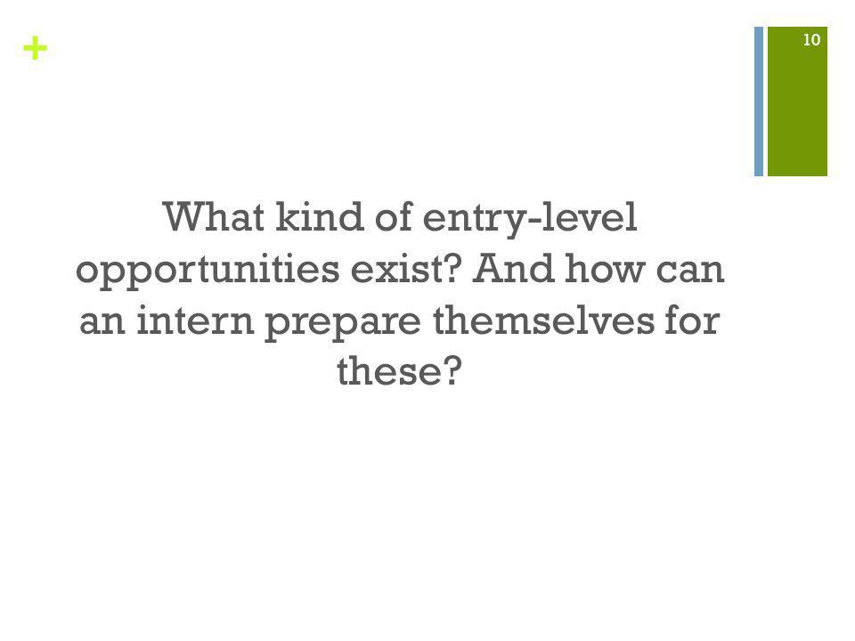 + What kind of entry-level opportunities exist. And how can an intern prepare themselves for these.