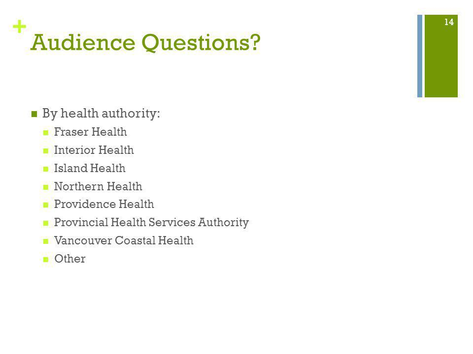 + Audience Questions? By health authority: Fraser Health Interior Health Island Health Northern Health Providence Health Provincial Health Services Au