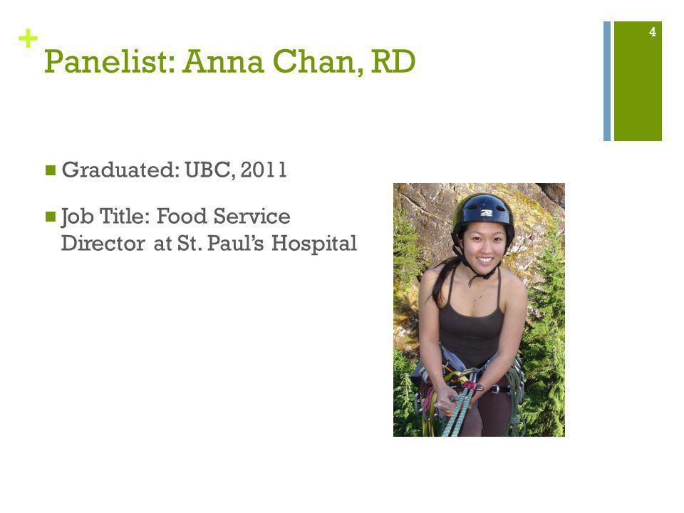 + Panelist: Anna Chan, RD Graduated: UBC, 2011 Job Title: Food Service Director at St.