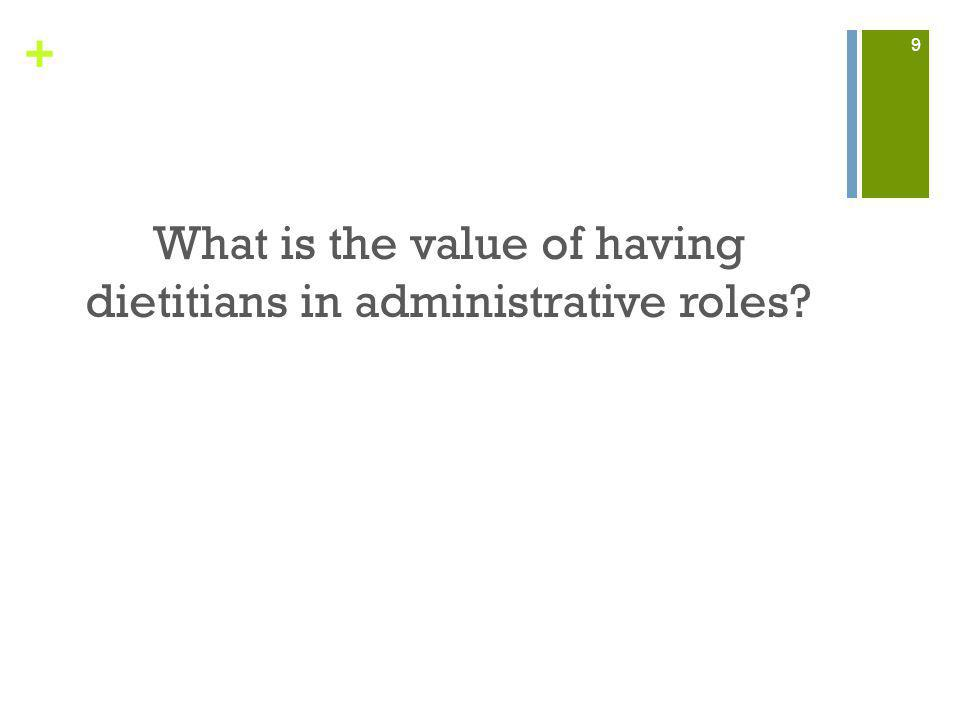 + What is the value of having dietitians in administrative roles? 9