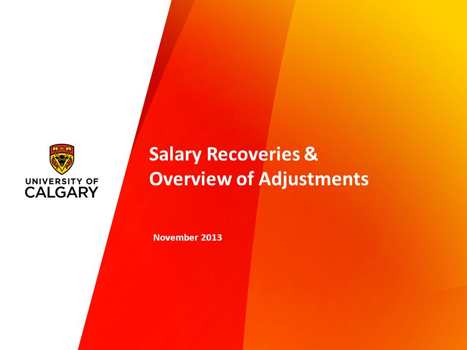 Salary Recoveries & Overview of Adjustments November 2013